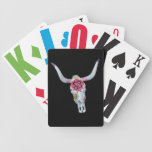 painted cow skull on black bicycle card deck
