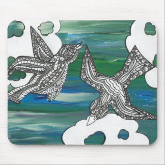 Painted Curly Birds Mouse Pad