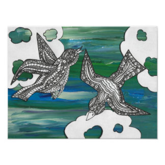 Painted Curly Birds Poster
