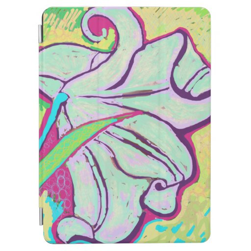 Painted curly lily iPad air cover