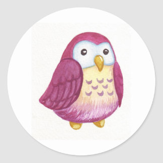 Painted Cute Owls Classic Round Sticker