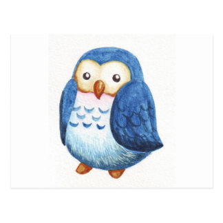 Painted Cute Owls Postcard