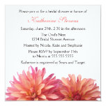 Painted Dahlia in Pink and Coral Bridal Shower 5.25x5.25 Square Paper Invitation Card