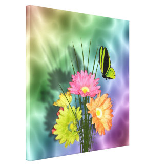 Painted Daisies and Butterflies Stretched Canvas Print