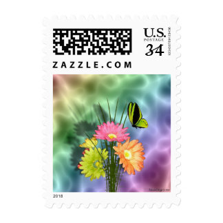 Painted Daisies and Butterflies Postage