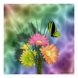Painted Daisies and Butterflies Poster