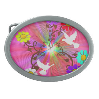 Painted Daisies and Doves Belt Buckle
