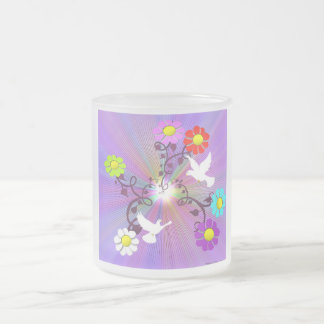Painted Daisies and Doves Frosted Glass Coffee Mug