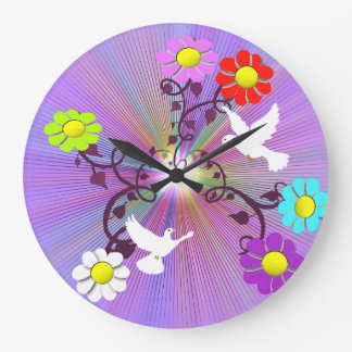 Painted Daisies and Doves Wall Clock