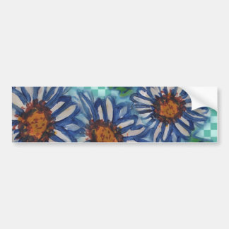 Painted Daisies on Teal Checkered Background Bumper Stickers