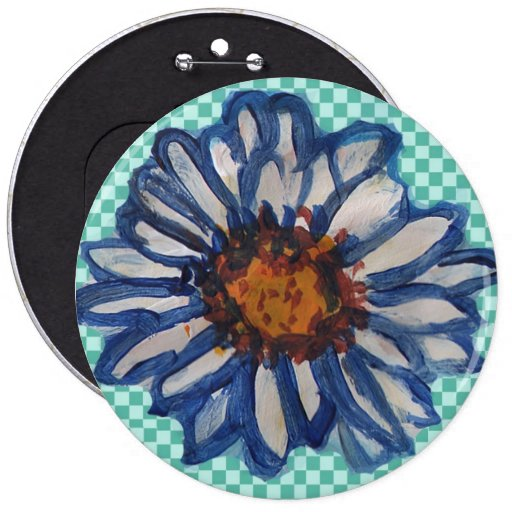 Painted Daisies, on Teal Checkered Background Button