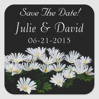 Painted Daisies Wedding Save The Date Square Sticker