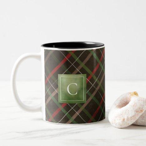Painted Dark Winter Plaid Monogram Two-Tone Coffee Mug
