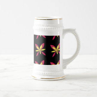 Painted Delicate Pink & Yellow Flowers On Black Beer Stein