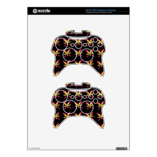 Painted Delicate Pink & Yellow Flowers On Black Xbox 360 Controller Skins