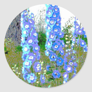 Painted Delphinium Classic Round Sticker