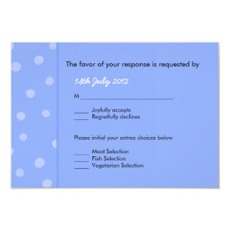 Painted Dots blue Wedding RSVP Card