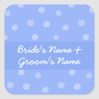 Painted Dots blue Wedding Square Sticker