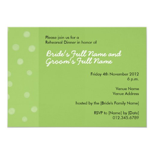 Painted Dots green Rehearsal Dinner Invitation