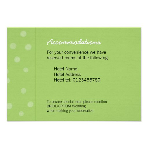 Painted Dots green Wedding Enclosure Card Personalized Announcements