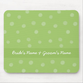 Painted Dots green Wedding Mousepad