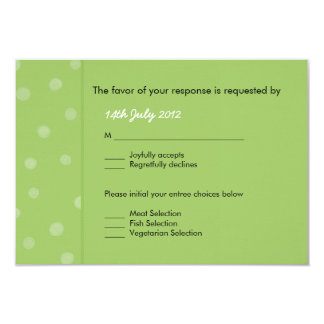 Painted Dots green Wedding RSVP Card