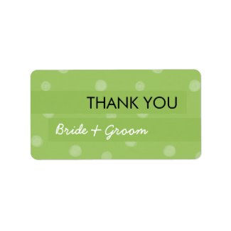 Painted Dots green Wedding Thank You Sticker label
