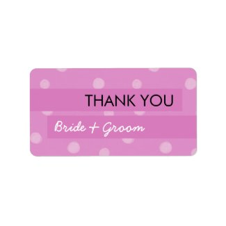 Painted Dots pink Wedding Thank You Sticker label