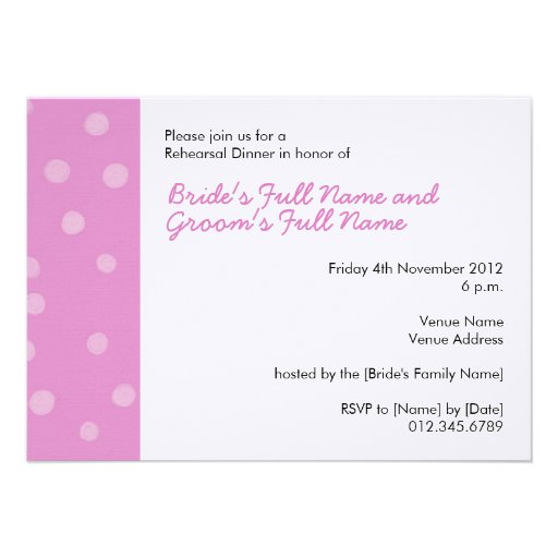 Painted Dots pink white Rehearsal Dinner Invite