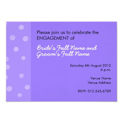 Painted Dots purple Engagement Invitation