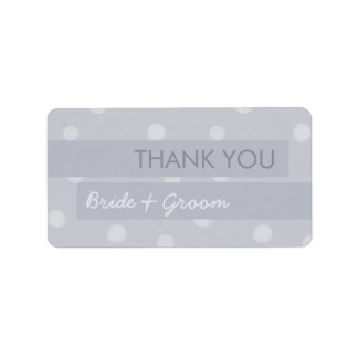 Painted Dots silver gray Wedding Thank You Sticker