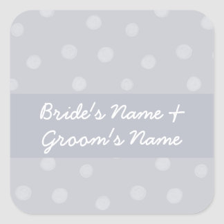 Painted Dots silvery grey Wedding Square Sticker