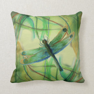 Painted Dragonfly Throw Pillow