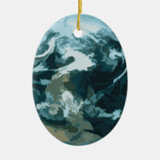 Painted Earth Ceramic Ornament