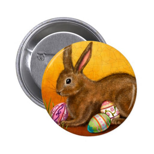 painted easter bunny buttons