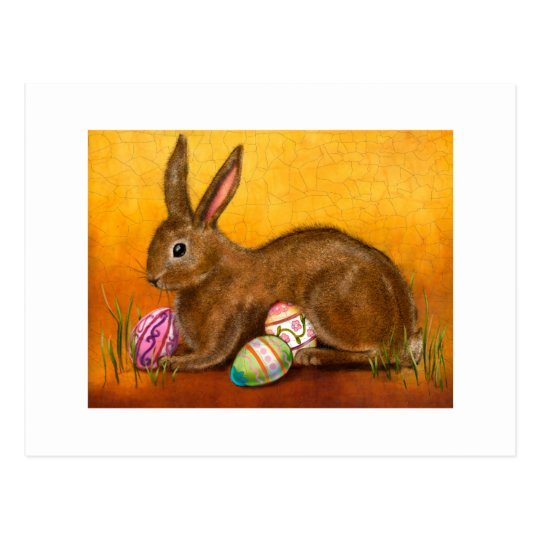 painted easter bunny postcard