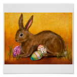 painted easter bunny poster