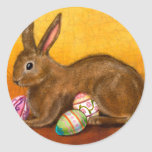painted easter bunny round sticker