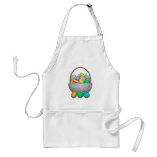 Painted Easter Eggs in Basket Adult Apron