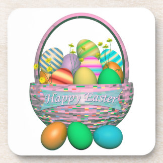 Painted Easter Eggs in Basket Beverage Coaster