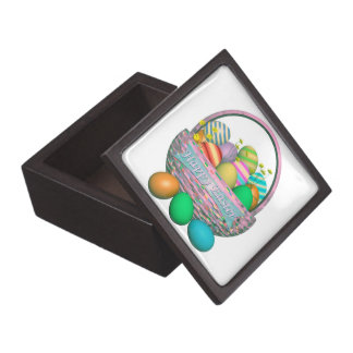 Painted Easter Eggs in Basket Gift Box