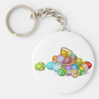 Painted Easter eggs in basket illustration Keychains