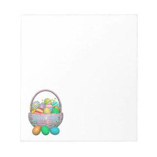 Painted Easter Eggs in Basket Note Pad