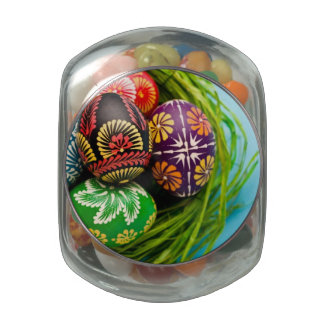 Painted Easter Eggs in Basket on Blue Glass Jar