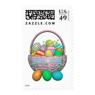 Painted Easter Eggs in Basket Postage