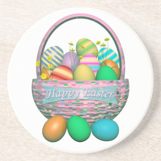 Painted Easter Eggs in Basket Sandstone Coaster