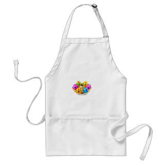 Painted easter eggs in gold tray isolated on white adult apron