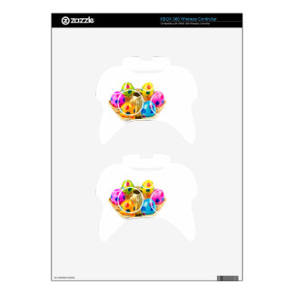 Painted easter eggs in gold tray isolated on white xbox 360 controller skins