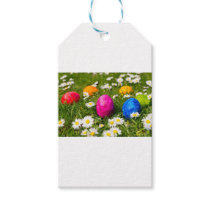 Painted easter eggs in grass with daisies gift tags
