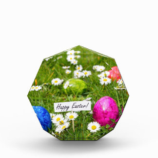 Painted Easter eggs in grass with white daisies Acrylic Award